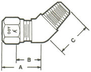 79NAB Elbow, 45º Tube to MPT Fittings