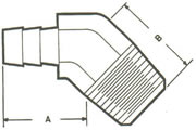 HE1-45 Elbow, 45º Hose to MPT Fittings
